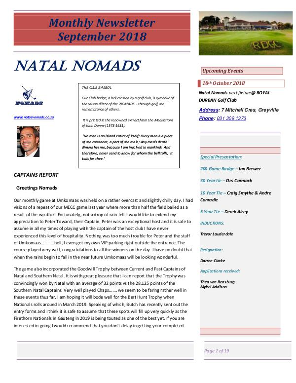 NATAL NOMADS Golf Club Monthly issue Monthly Newsletter Umkomaas Country Club September