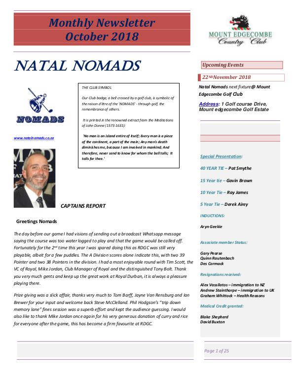 NATAL NOMADS Golf Club Monthly issue Monthly Newsletter Royal Durban Golf Club October