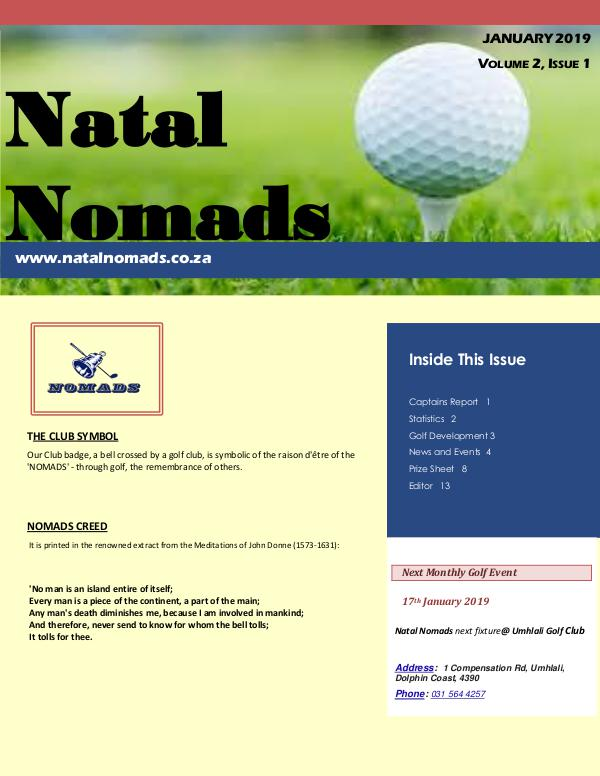 NATAL NOMADS Golf Club Monthly issue Volume 2,  Issue 1