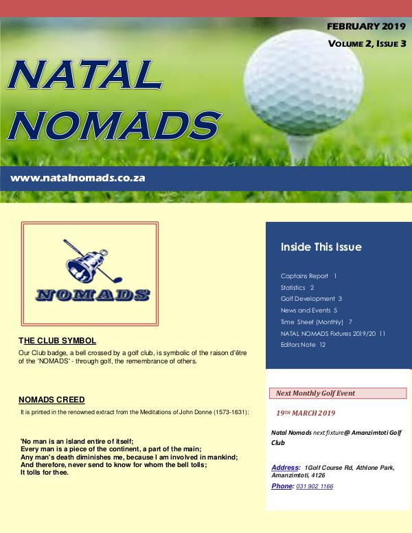 NATAL NOMADS Golf Club Monthly issue Newsletter Windsor  Golf Club  Volume 2  Issue 3