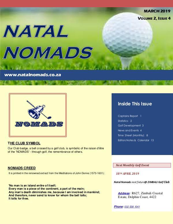 NATAL NOMADS Golf Club Monthly issue Newsletter Amanzimtoti Golf Club  Volume 2  Issue