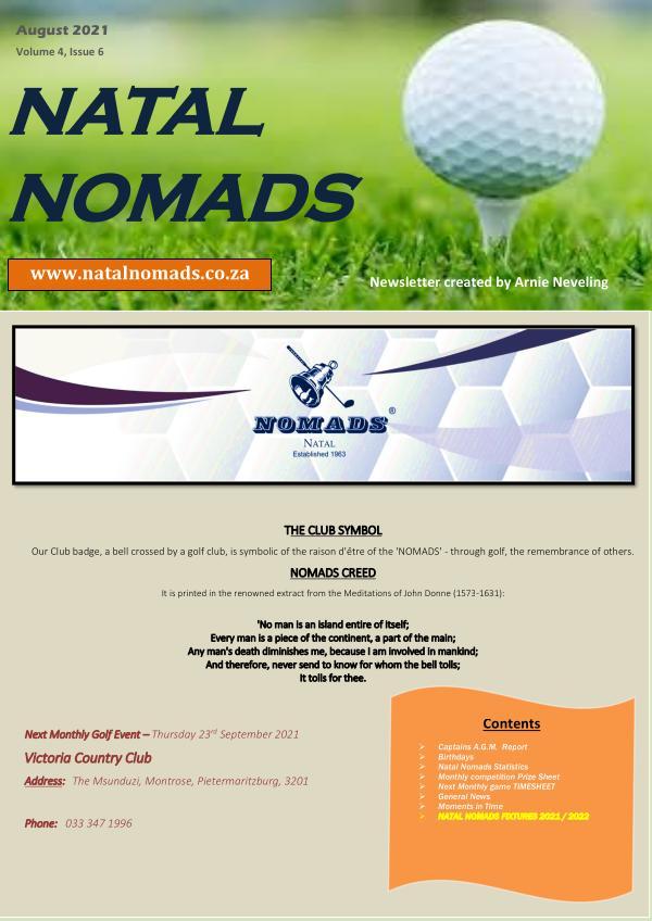 Natal Nomads Golf Newsletter August 2021