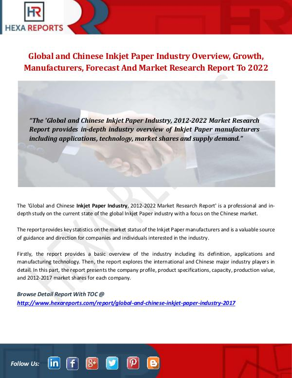 Hexa Reports Inkjet Paper Industry