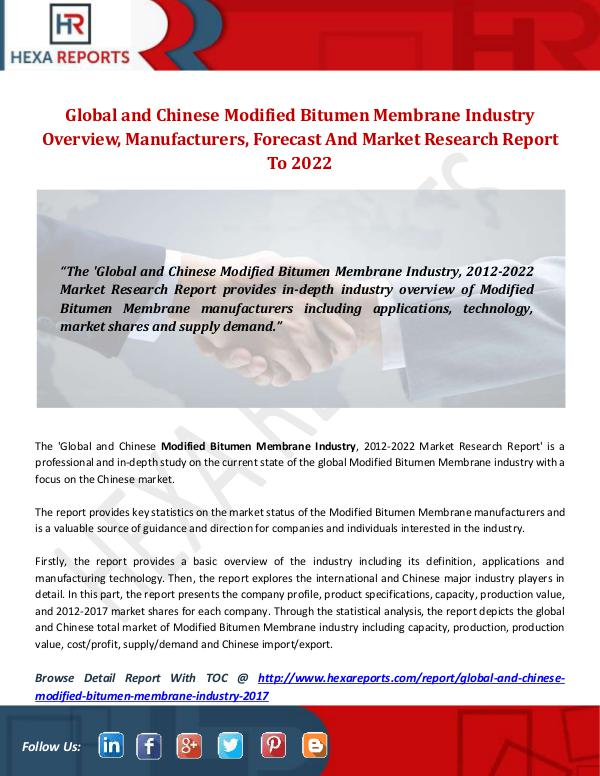 Hexa Reports Modified Bitumen Membrane Industry