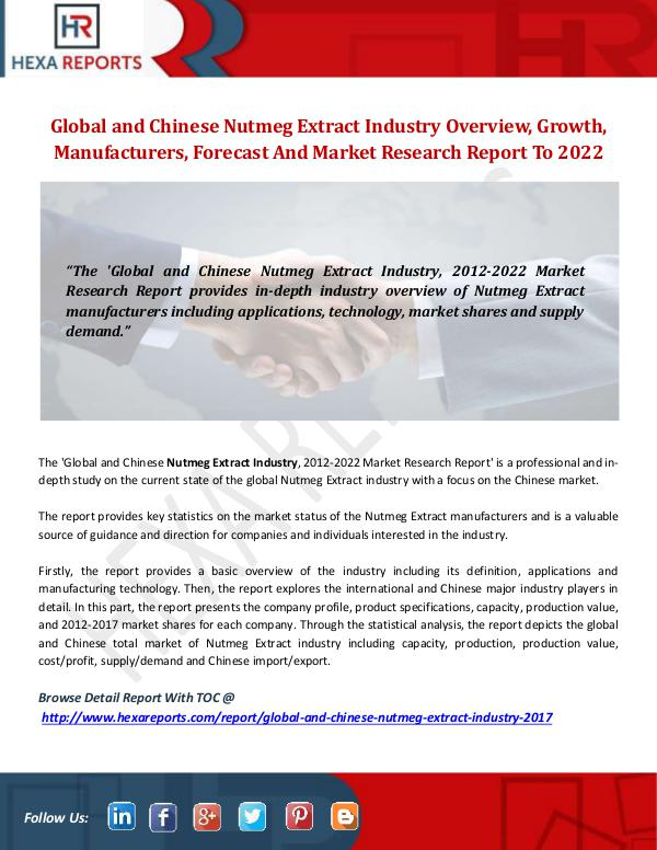 Hexa Reports Nutmeg Extract Industry