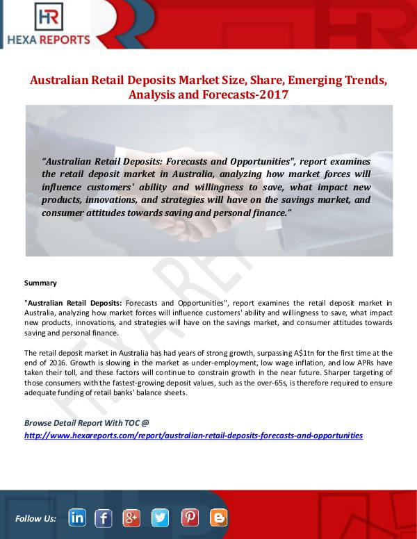 Hexa Reports Australian Retail Deposits Market