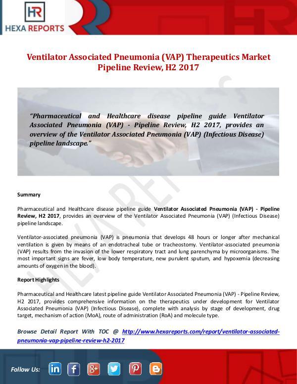 Hexa Reports Ventilator Associated Pneumonia (VAP Market Pipeli