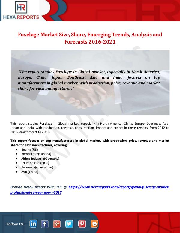 Hexa Reports Fuselage Market Size, Share, Emerging Trends, Anal
