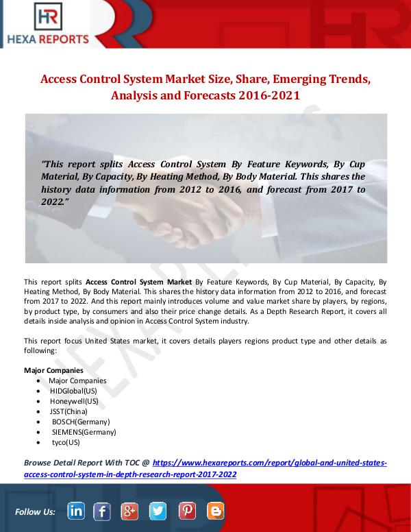 Access Control System Market Size, Share, Emerging