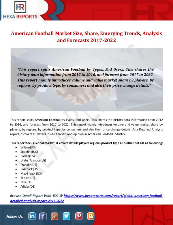 Hexa Reports American Football Market Size, Share, Emerging Tre