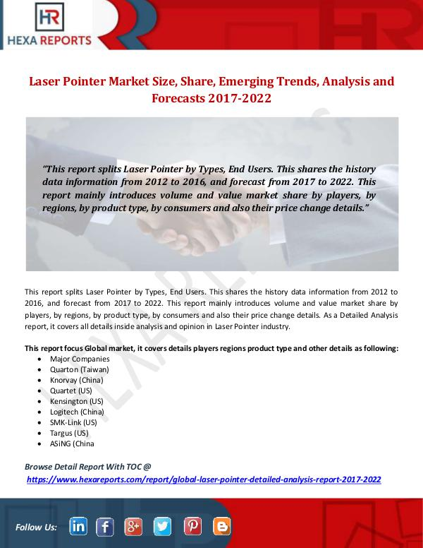 Hexa Reports Laser Pointer Market Size, Share, Emerging Trends,
