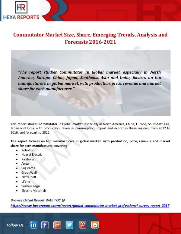 Hexa Reports Commutator Market Size, Share, Emerging Trends, An