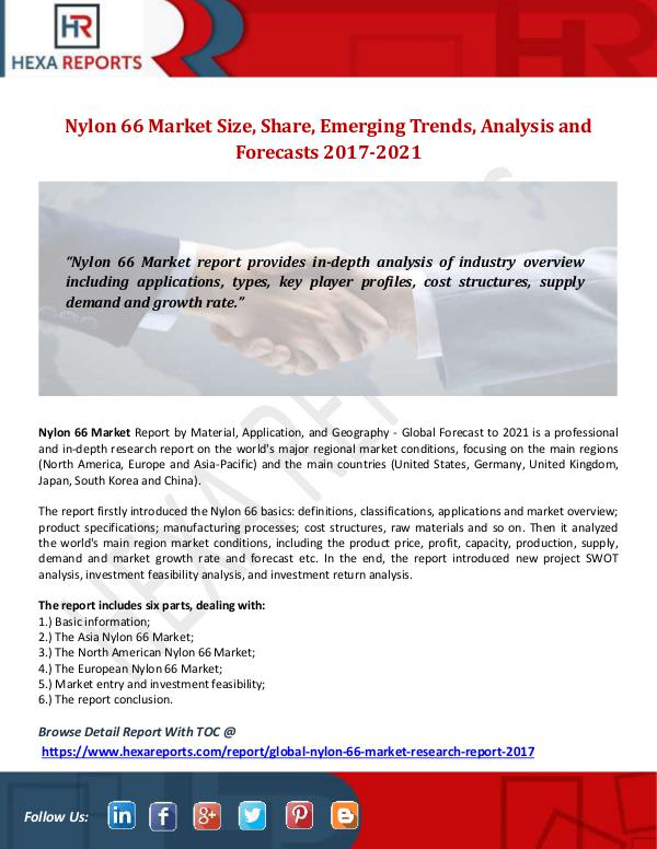 Hexa Reports Nylon 66 Market Size, Share, Emerging Trends, Anal