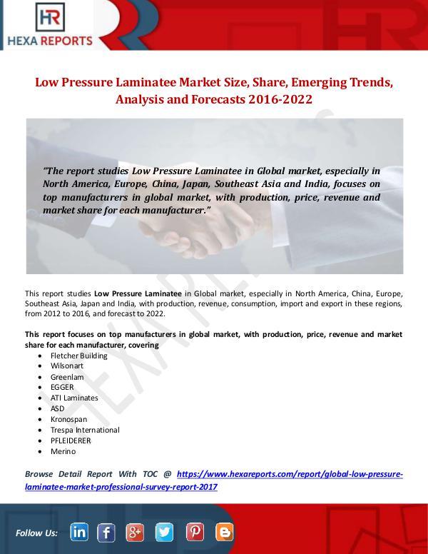 Hexa Reports Low Pressure Laminatee Market Size, Share, Emergin