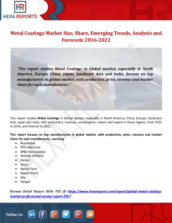 Hexa Reports Metal Coatings Market Size, Share, Emerging Trends