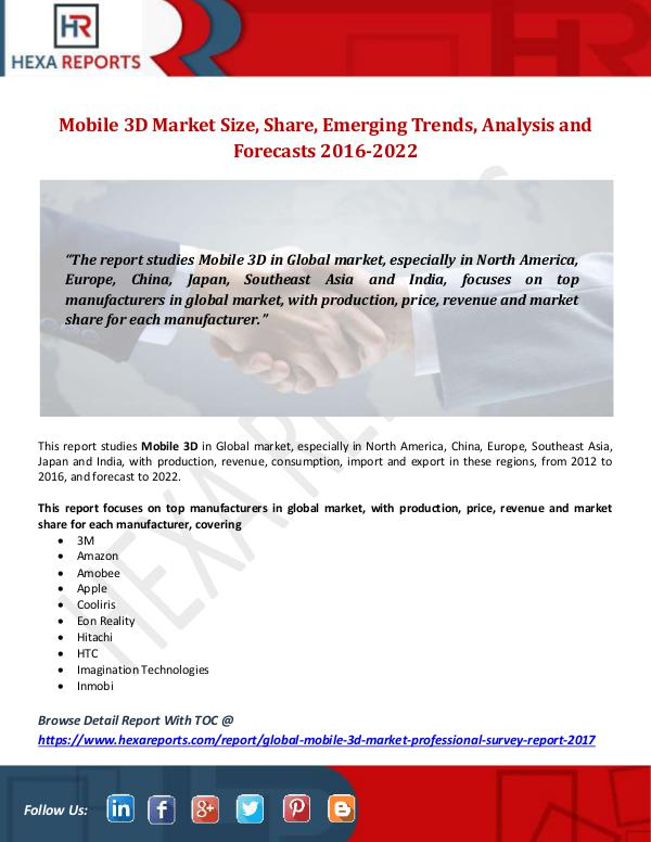 Hexa Reports Mobile 3D Market Size, Share, Emerging Trends, Ana