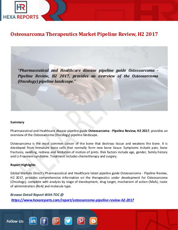 Osteosarcoma Therapeutics Market Pipeline Review,