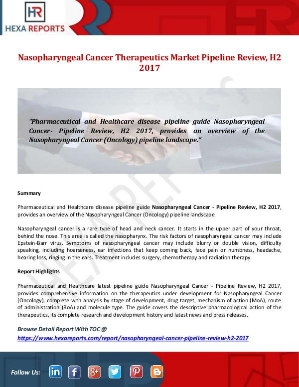 Nasopharyngeal Cancer Therapeutics Market Pipeline