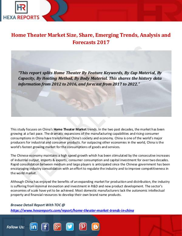 Hexa Reports Home Theater Market Size, Share, Emerging Trends,
