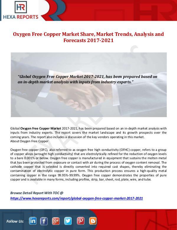 Hexa Reports Oxygen Free Copper Market Share, Market Trends, An