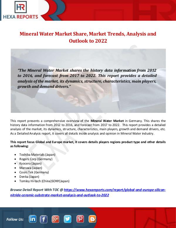 Hexa Reports Mineral Water Market Share, Market Trends, Analysi