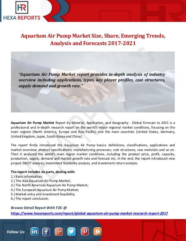 Aquarium Air Pump Market Size, Share, Emerging Tre