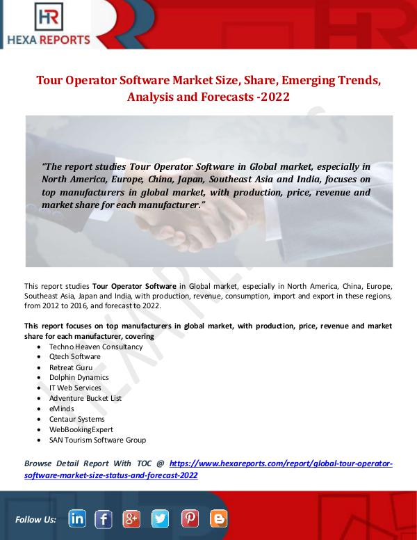 Hexa Reports Tour Operator Software Market Size, Share, Emergin