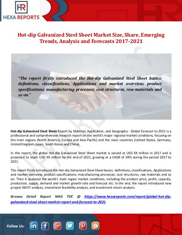 Hexa Reports Hot-dip Galvanized Steel Sheet Market Size, Share,