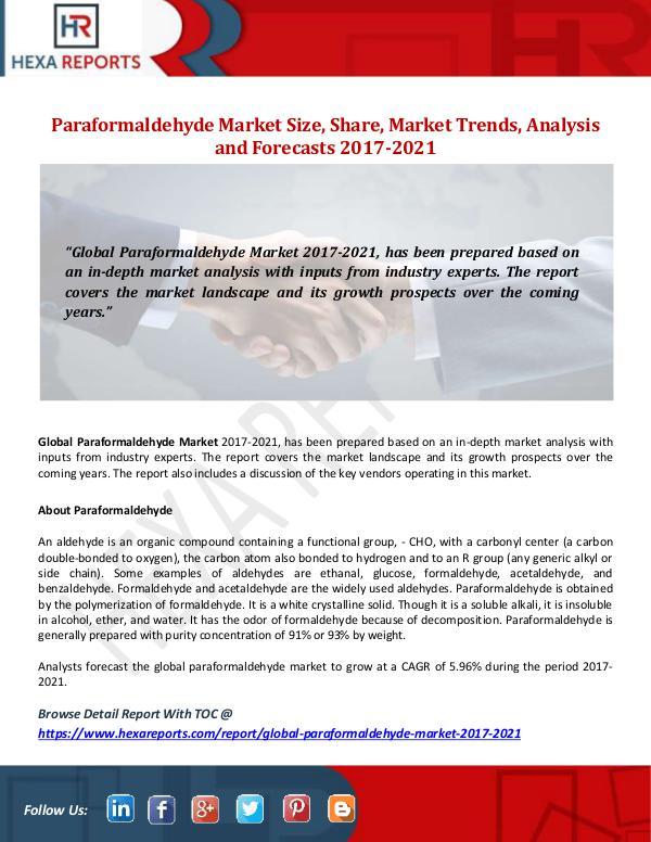 Hexa Reports Paraformaldehyde Market Size, Share, Market Trends
