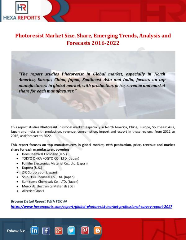 Photoresist Market Size, Share, Emerging Trends, A