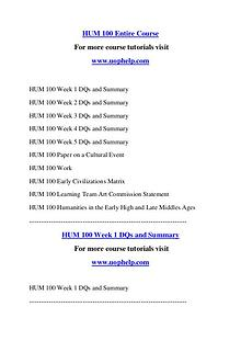 HUM 100 Help A Clearer path to student success/uophelp.com