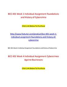 BCC 401 All Assignments