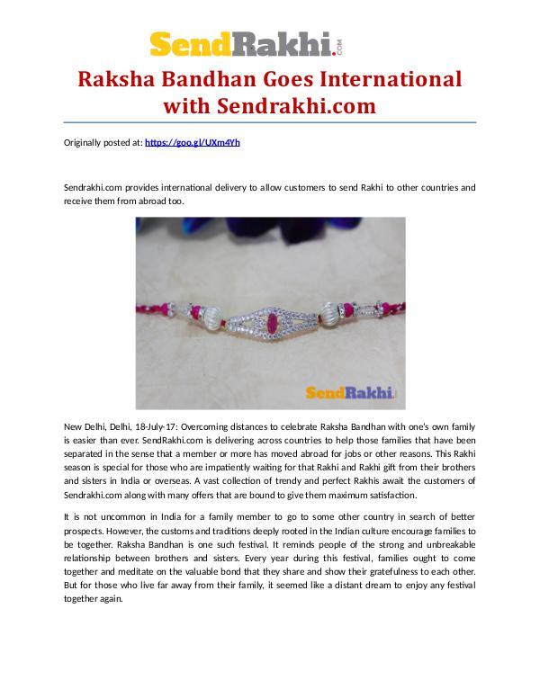 Raksha Bandhan Goes International with Sendrakhi