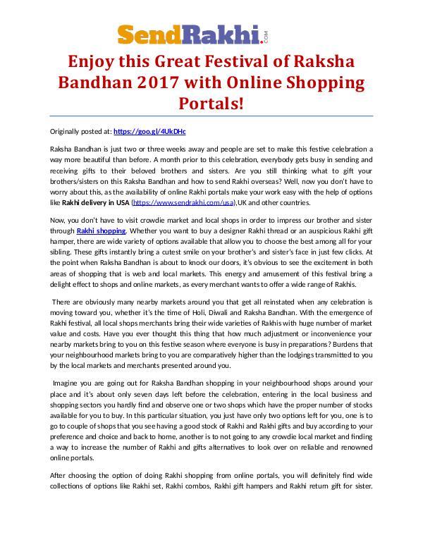 Enjoy this Great Festival of Raksha Bandhan 2017.