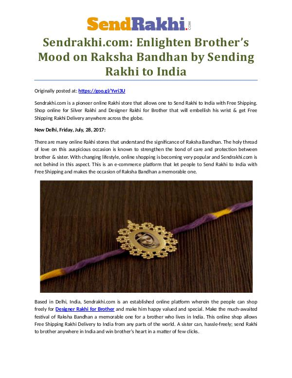 Send online Designer rakhi to your brother