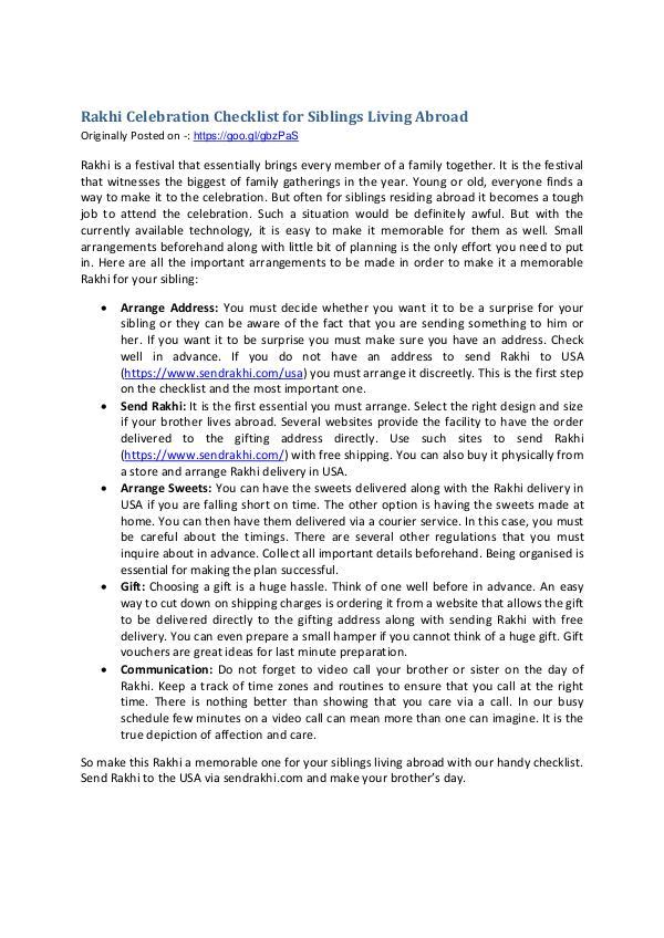 Rakhi Celebration Checklist for Siblings Living Ab