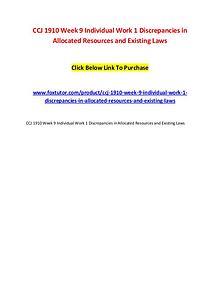 CCJ 1910 Week 9 Individual Work 1 Discrepancies in Allocated Resource