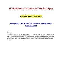 CCJ 2358 Week 7 Individual Work Debriefing Report