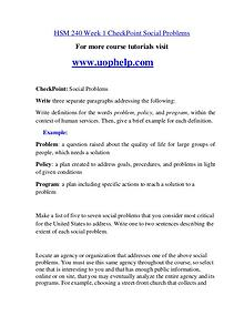 HSM 240 Help A Clearer path to student success/uophelp.com