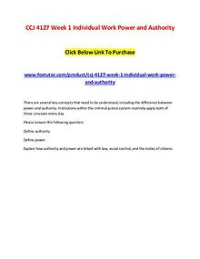 CCJ 4127 Week 1 Individual Work Power and Authority