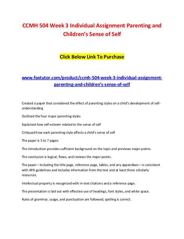 CCMH 504 Week 3 Individual Assignment Case Study CCMH 504 Week 3 Individual Assignment Parenting an