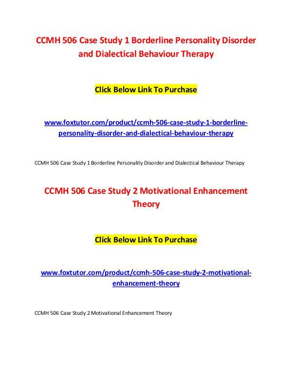 CCMH 506 All Assignments CCMH 506 All Assignments