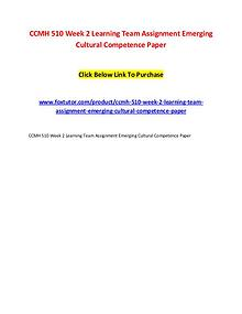 CCMH 510 Week 2 Learning Team Assignment Emerging Cultural Competence