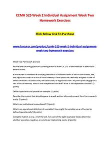 CCMH 525 Week 2 Individual Assignment Week Two Homework Exercises