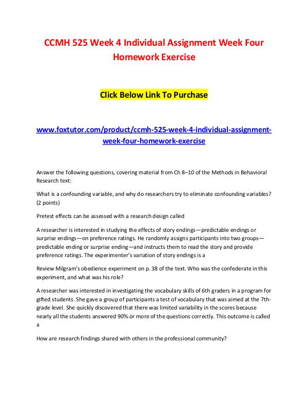 CCMH 525 Week 4 Individual Assignment Week Four Homework Exercise CCMH 525 Week 4 Individual Assignment Week Four Ho