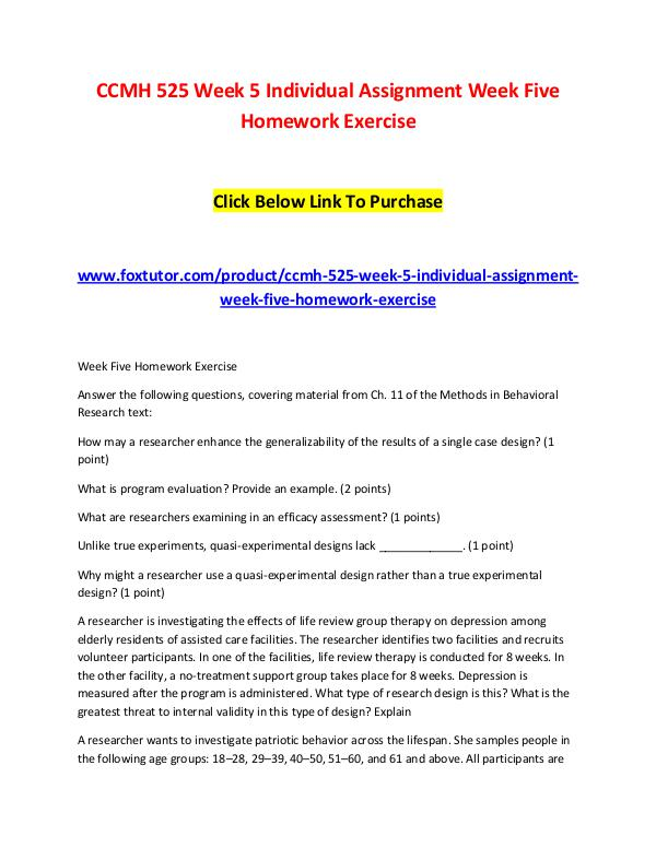 CCMH 525 Week 5 Individual Assignment Week Five Homework Exercise CCMH 525 Week 5 Individual Assignment Week Five Ho