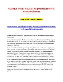 CCMH 525 Week 7 Individual Assignment Week Seven Homework Exercise
