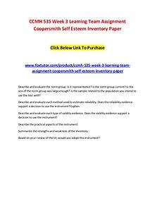 CCMH 535 Week 3 Learning Team Assignment Coopersmith Self Esteem Inve