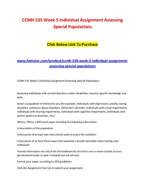 CCMH 535 Week 5 Individual Assignment Assessing Special Populations CCMH 535 Week 5 Individual Assignment Assessing Sp