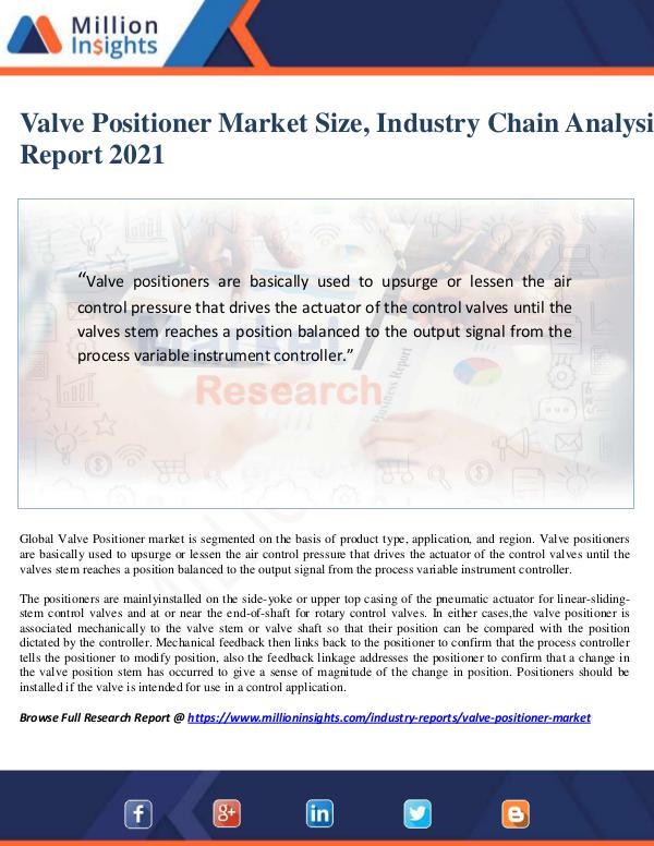 Manufacturing and Construction Reports by Million Insights Valve Positioner Market Size, Industry Chain Analy